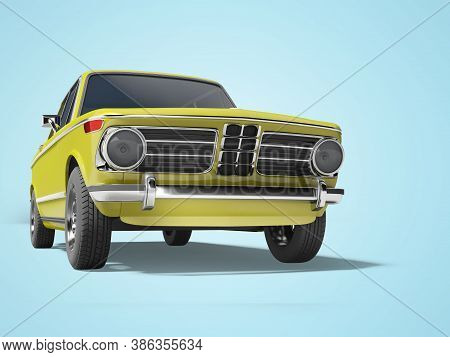 3d Rendering Yellow Classic Car With Tinted Windows In Front Of Blue Background With Shadow