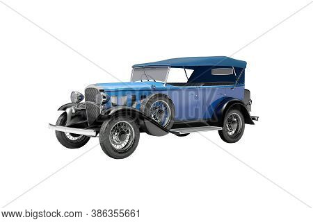 Classic Retro Car Blue Isolated 3d Rendering On Gray Background With Shadow