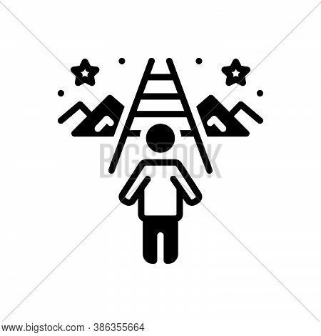 Black Solid Icon For Purpose Goal Achievement Objective Aim Final-cause Target Success Victory
