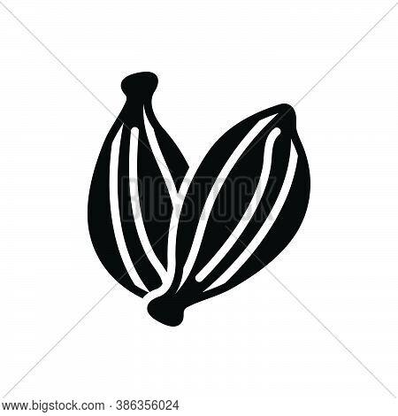 Black Solid Icon For Black-cardamom Black Cardamom Seeds Cardamum Aroma Condiment Spice Flavor Ingre