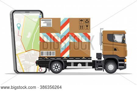 Delivery Van With Box And Smartphone With Navigation App. Express Delivering Services Commercial Tru