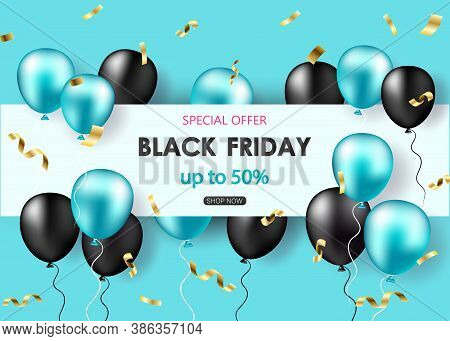 Black Friday Sale poster with shiny balloons, confetti.Black friday sale banner. Celebration Balloon Sales Black Friday on a Grey background. Balloons Black Friday. Balloons Black friday with gold realistic bow on the black background. bow realistic. Blac