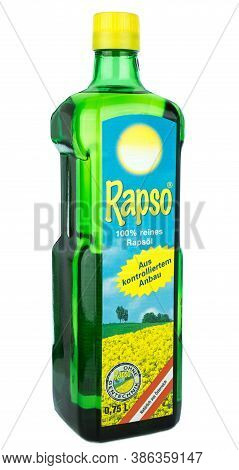 NIEDERSACHSEN, GERMANY SEPTEMBER 21, 2020: A green glass bottle of Rapso rape seed cooking oil on a