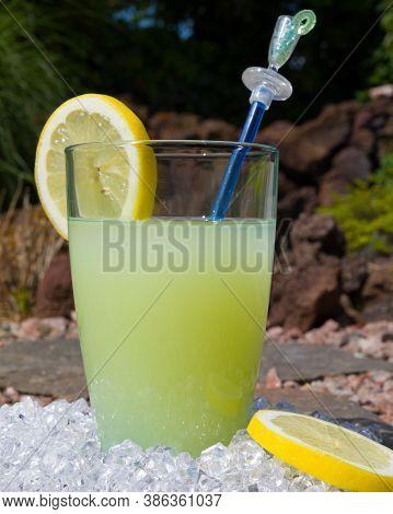 A Glass With A Fresh Lemonade Summer Drink