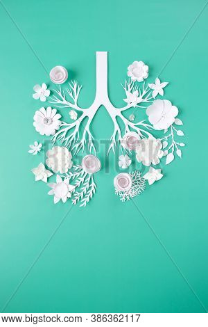 Flowers Arranged In Shape Of Human Lungs As Symbol Of Healthy Life
