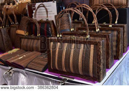 Wickerwork, Fashion Handbags On The Market Indoor