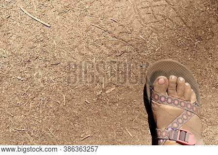 Dirty Foot In Hiking Sandal On A Hike In The Mountains On Top Of Dirt.