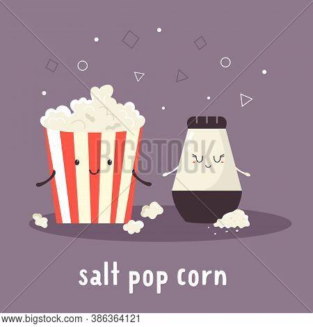 Popcorn And Salt. Cheerful Friends. Vector Illustration