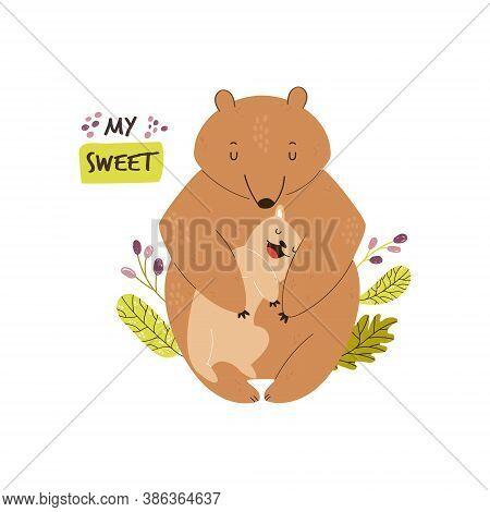 Cute Brown Bears Family. Baby Cartoon Design