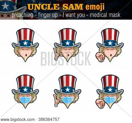 Vector Illustrations Set Of Cartoon Uncle Sam Emoji With Preaching Expression, Just The Face, Pointi