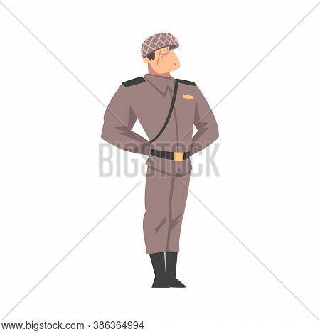 Army Soldier, Infantry Military Man Character In Gray Uniform And Helmet Cartoon Style Vector Illust