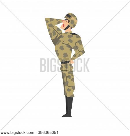Army Soldier Saluting, Military Man Character In Camouflage Combat Uniform And Helmet Cartoon Style