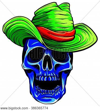 Spooky Cowboy Skull Character With Classic Felt Hat In Cartoon Style