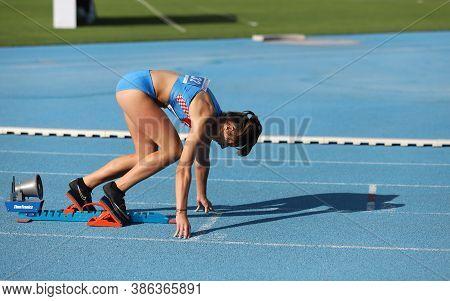 Istanbul, Turkey - September 12, 2020: Undefined Athlete Running 400 Metres Hurdles During Balkan U2