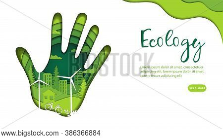 Save Ecology, Green Renewable Energy Concept. Abstract Palm Print In Light And Dark Green Colors Wit