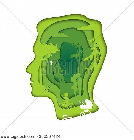 Think Green, Save The Future Of The Earth Concept. Isolated Male Human Head Silhouette. Green Enviro