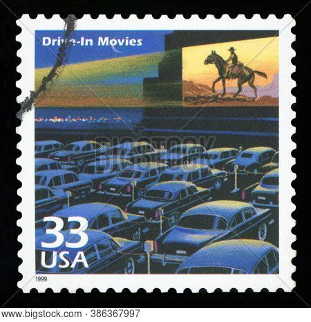 United States -circa 1999: A Postage Stamp Printed In Usa Showing An Image Of A Fifties Drive-in Mov