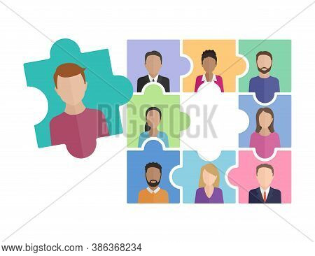 Join Our Team! People Avatars (small Profile Image) - In Puzzle Form With Empty Puzzle Element Insid