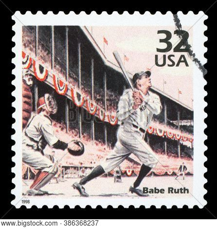 United States Of America, Circa 1998: A Postage Stamp Printed In Usa Showing An Image Of Babe Ruth,