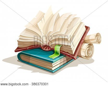 Magic book from fairy tale with spreading pages. Book spreadsheet and vintage paper manuscripts with torn page. Isolated on white transparent background. 3D illustration.