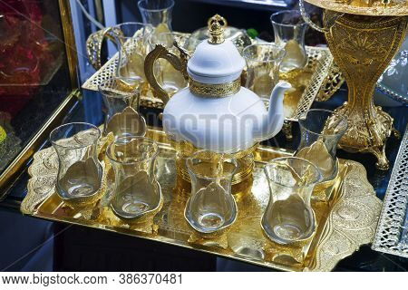 Vintage, Antique, Oriental, Turkish, Azerbaijani National Tea Glasses With Patterns On Display For S