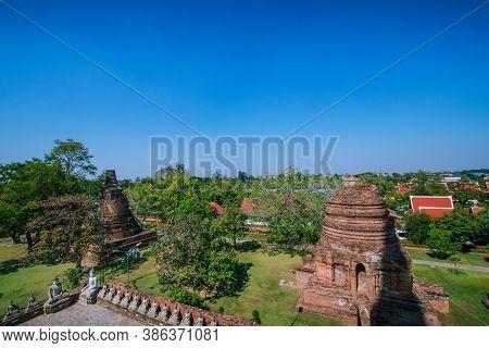 Pagoda And Buddha Images At Wat Yai Chaimongkol, Ayutthaya Province, Thailand