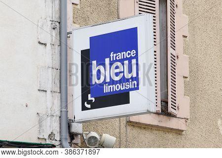 Limoges , Aquitaine / France - 09 20 2020 : France Bleu Limousin Logo Locale Radio Sign Network Fren