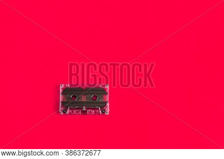 Top View Audio Cassette. Vintage Audio Cassette On Colored Background. Old Cassette Tape Audio Isola