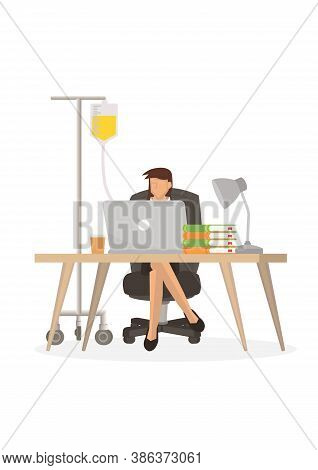 Tired Overwork Businesswoman With Medical Drip Bag. Concept Of Overwork Or Sickness. Flat Vector Ill
