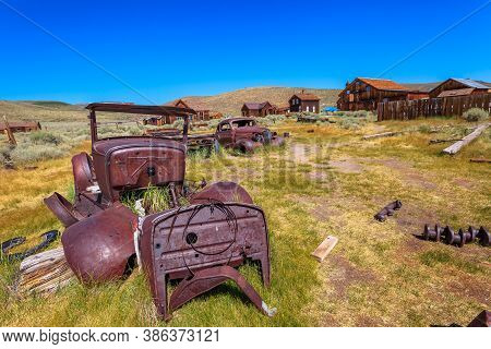 Rusty Car Wrecks Of Some Old Cars Of 1930s, In Bodie State Historic Park, Californian Ghost Town Of