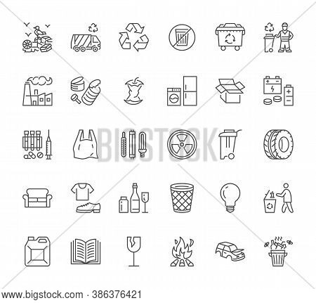 Waste Recycle Line Icons Set. Trash Bin, Bag, Garbage Types - Food, Plastic, Battery, Organic, Paper