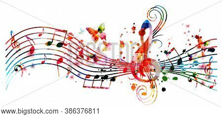 Colorful Music Promotional Poster With Music Notes Isolated Vector Illustration. Artistic Abstract B