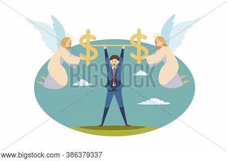 Teamwork, Startup, Religion, Christianity, Business Concept. Team Angels Biblical Characters Holding
