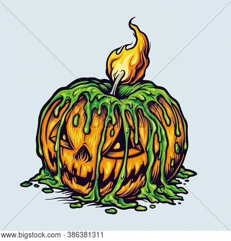Spooky Halloween Scary Pumpkins Candle Light For Clothing Line Merchandise And Poster Publications