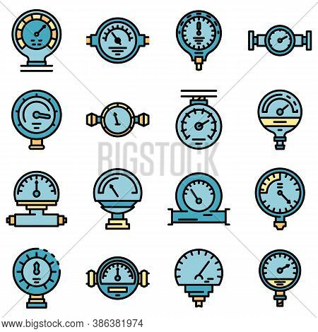 Manometer Icons Set. Outline Set Of Manometer Vector Icons Thin Line Color Flat On White
