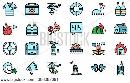 Rescuer Icons Set. Outline Set Of Rescuer Vector Icons Thin Line Color Flat On White