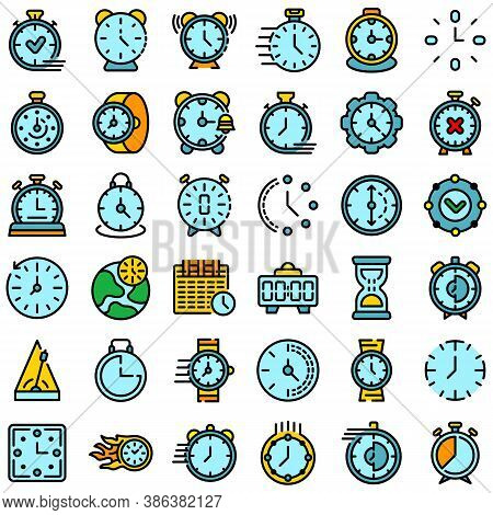 Stopwatch Icons Set. Outline Set Of Stopwatch Vector Icons Thin Line Color Flat On White