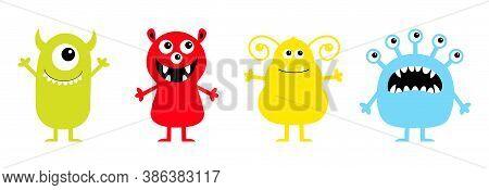 Monster Set Line. Cute Kawaii Cartoon Baby Character Icon. Happy Halloween. Eyes Teeth Fang Tongue,