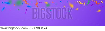 Streamers And Confetti. Colorful Streamers Tinsel And Foil Ribbons. Confetti Gradient On Violet Back