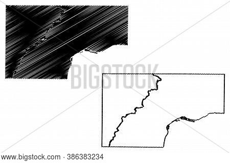 Muscatine County, Iowa (u.s. County, United States Of America, Usa, U.s., Us) Map Vector Illustratio
