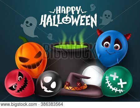 Halloween Demon Vector Banner Design. Happy Halloween Text With Devil Character Holding Colorful Bal