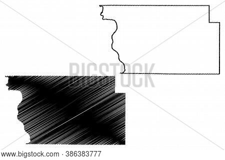 Woodbury County, Iowa (u.s. County, United States Of America, Usa, U.s., Us) Map Vector Illustration