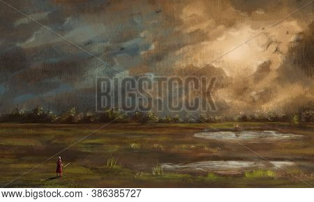 Warrior, Knight With Sword Standing In Landscape With Pond, Trees And Dramatic Sunset Sky. Fantasy D