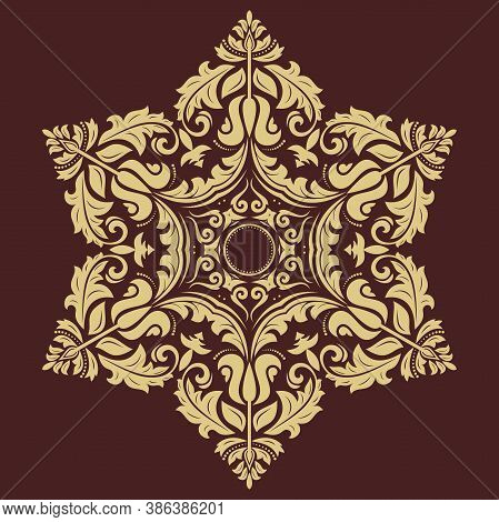 Oriental Vector Pattern With Arabesques And Floral Golden Elements. Traditional Classic Ornament. Vi
