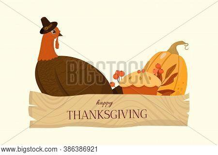 Happy Thanksgiving Day Vector Illustration. Turkey And Pumpkin.