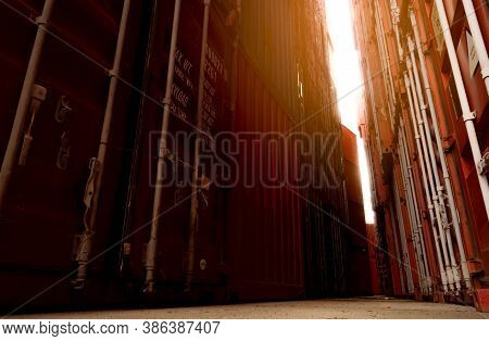 Selective Focus On Container Logistic. Cargo And Shipping Business. Container Ship For Import And Ex