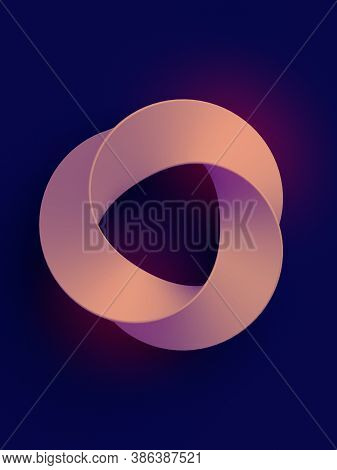 Trendy Template With Pink Mobius Ring Geometric Figure On Dark Violet Background For Print Design. A