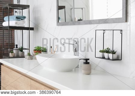 Bathroom Counter With Stylish Vessel Sink And Houseplants. Interior Design