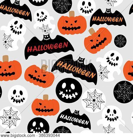 Bright Holiday Pattern Of Horror Stories Of Anticipation Halloween Pumpkin