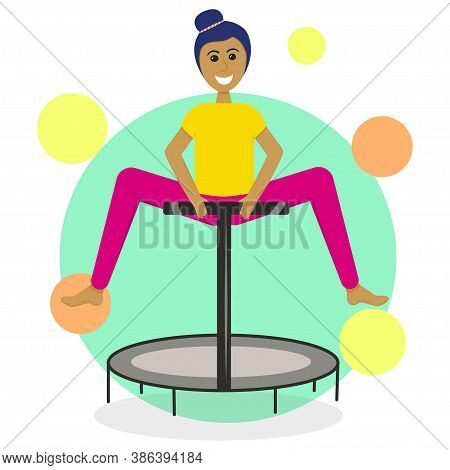 A Girl On A Fitness Trampoline Is Isolated On A White Background. Vector Illustration In Flat Style.
